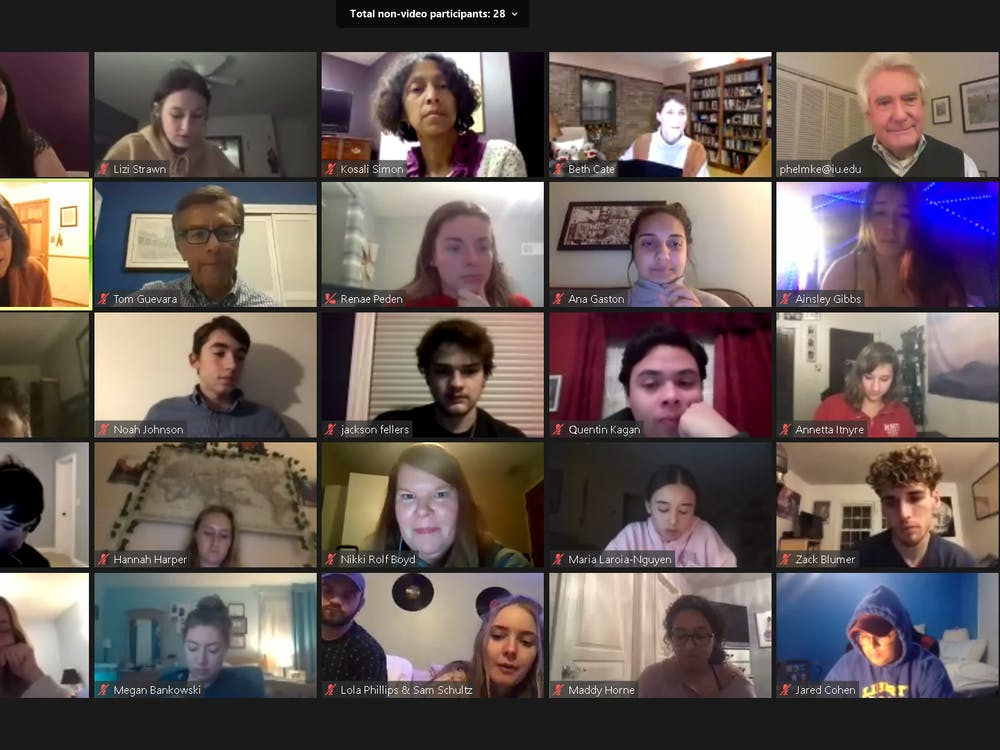 A screenshot from a panel discussing policy implications of a Biden-Harris administration Dec. 7 over Zoom. This panel was the second in a series hosted by the Paul H. O'Neill School of Public and Environmental Affairs.