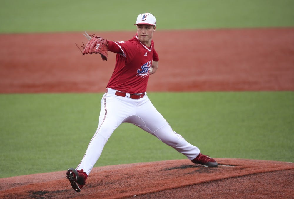 <p>Junior Tim Herrin pitches the ball during the Hoosiers' game against the Indiana State Sycamores on April 10. Herrin signed with the Cleveland Indians on Wednesday.</p>
