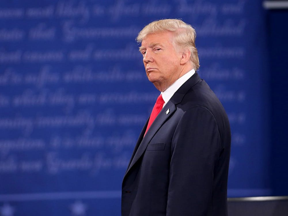 Donald Trump on stage during the second debate between the Republican and Democratic presidential candidates on Sunday, Oct. 9, 2016 at Washington University in St. Louis, Mo. Monday morning Speaker of the House, Paul Ryan announced to Republican officals that he will no longer publically support Donald Trump for President, but rather the party majority as a whole.