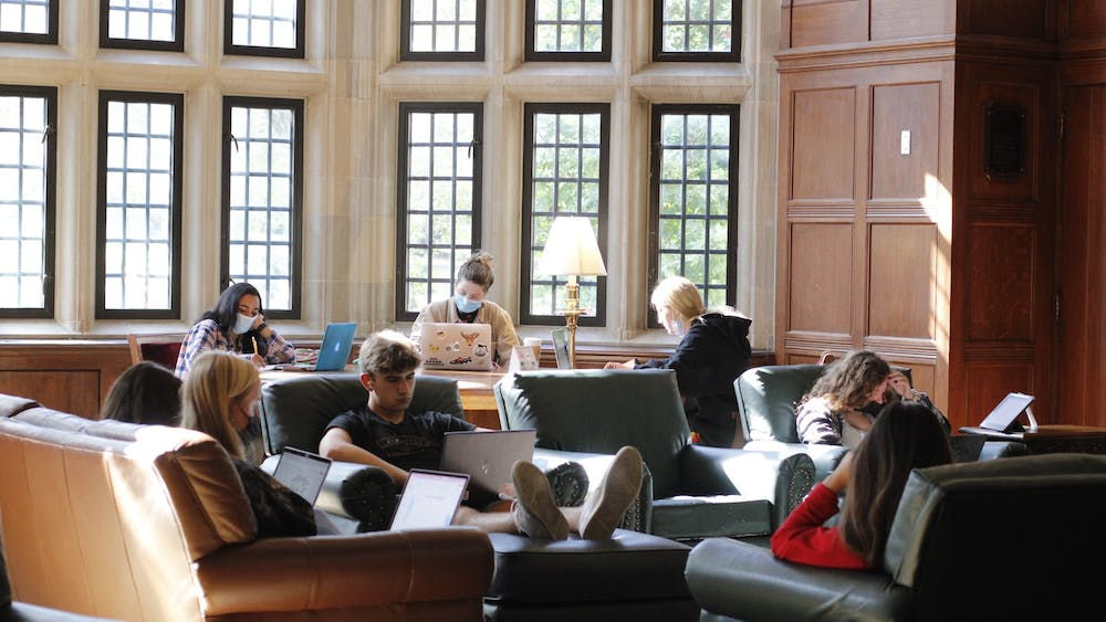 Students study Oct. 20, 2021, in the South Lounge of Indiana Memorial Union Building.
