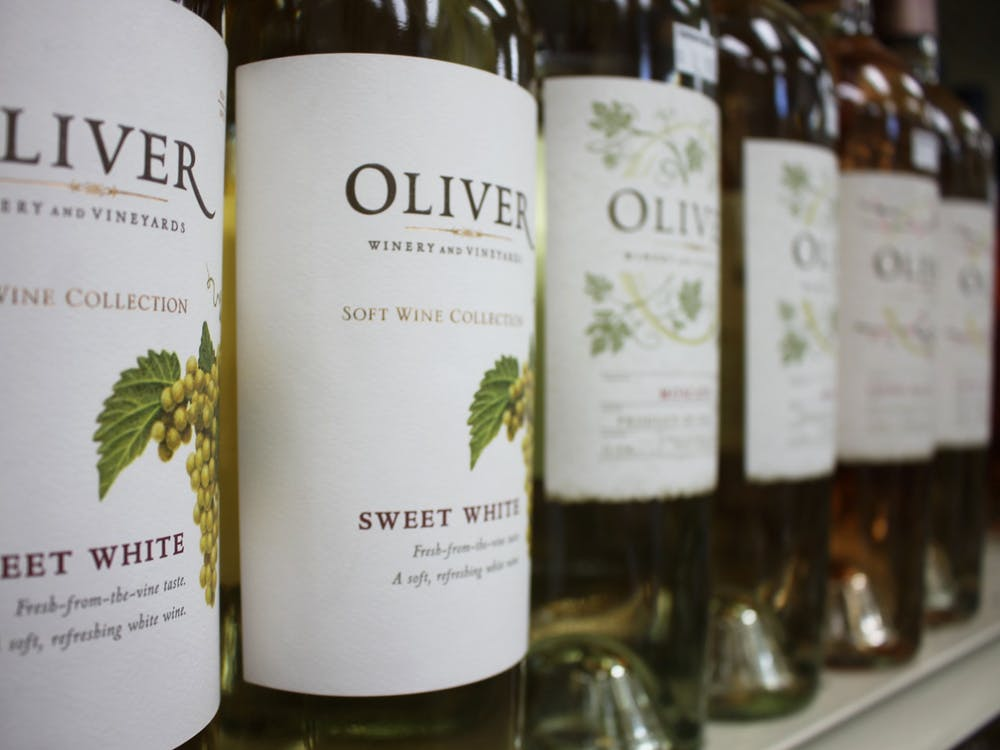 Oliver Winery wine bottles are pictured. Oliver Winery has been purchased by New York private equity firm NexPhase Capital.