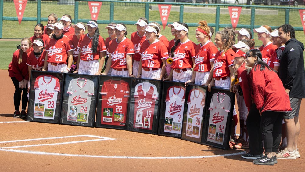 The Hoosiers pose for a photo with the team's Seniors prior to the last games of Senior Weekend on May 8. The team won offseason awards Wednesday.