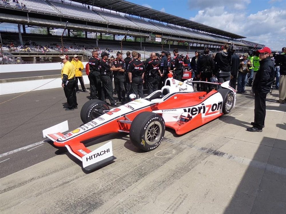 Juan Pablo Montoya's car sits on pit road after qualifying May 17 at Indianapolis Motor Speedway. Montoya makes his return to IndyCar after spending time in Formula One and NASCAR.