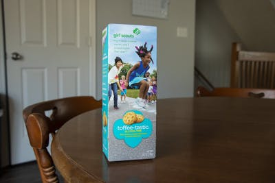 "A box of ""Toffee-Tastic"" Girl Scouts cookies. The Girl Scout Cookie Program began in 1917 by a troop in Oklahoma."