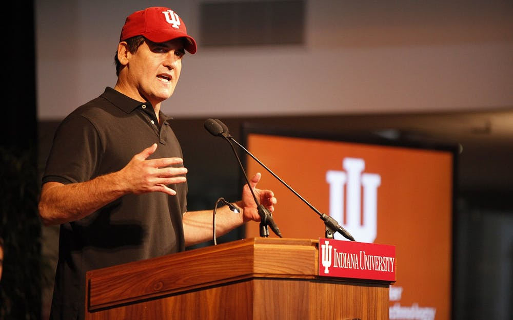 <p>Mark Cuban speaks during the announcement of the Mark Cuban Center for Sports Media and Technology in 2017 in the Henke Hall of Champions. Cuban recently participated in a Zoom call with the IU men&#x27;s tennis team.</p>