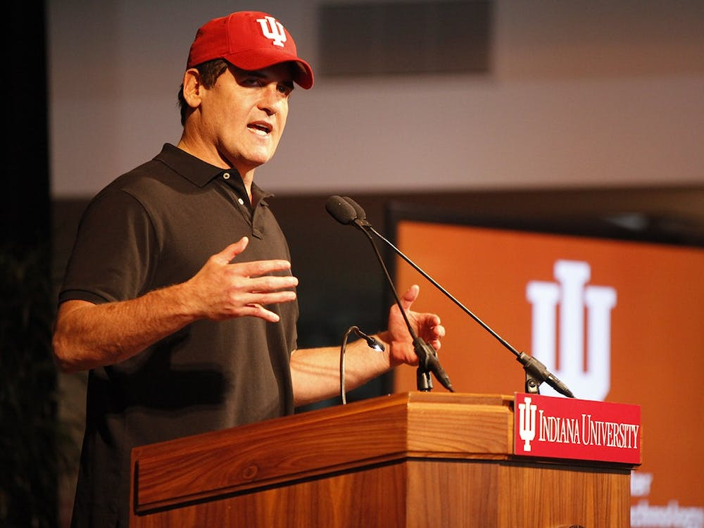 Mark Cuban speaks during the announcement of the Mark Cuban Center for Sports Media and Technology in 2017 in the Henke Hall of Champions. Cuban recently participated in a Zoom call with the IU men's tennis team.
