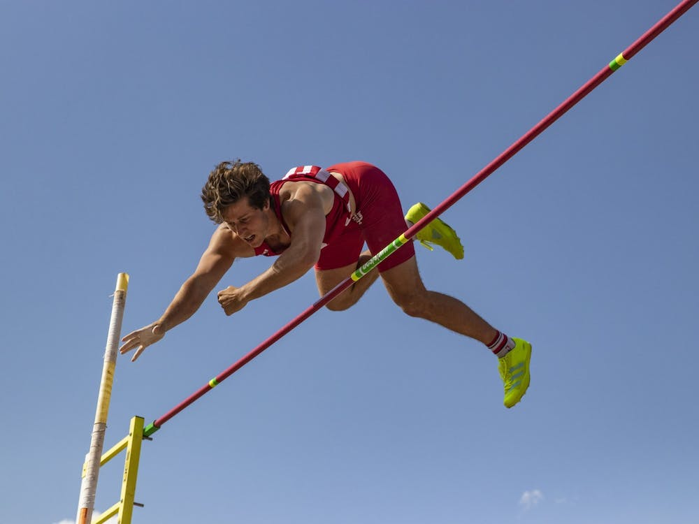 Senior Brock Mammoser attempts to clear the standard during the Big Ten Indiana Invitational on April 9, 2021 at the Robert Haugh Track and Field Complex. Eight Hoosiers finished their seasons at the outdoor NCAA track and field Championships.