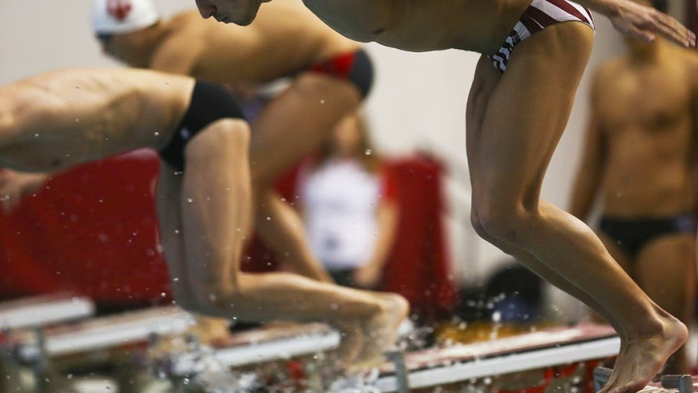 Ali Khalafalla, IU junior freestyle and backstroke swimmer, leaps into the pool for the 200-yard medley relay against Louisville last season. Khalafalla, along with the men's and women's swimming and diving teams, will have his first home meet of the season this Thursday afternoon.