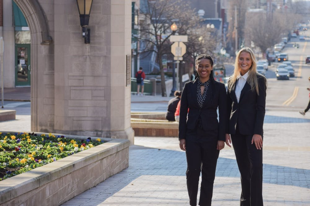 <p>IU Student Government presidential candidate Dorynn Mentor, left, and vice presidential candidate Carling Louden, right, ran as the Inspire campaign in the IUSG presidential election. The IU Student Government Election Commission found the Inspire ticket responsible for two more election violations Sunday.</p>