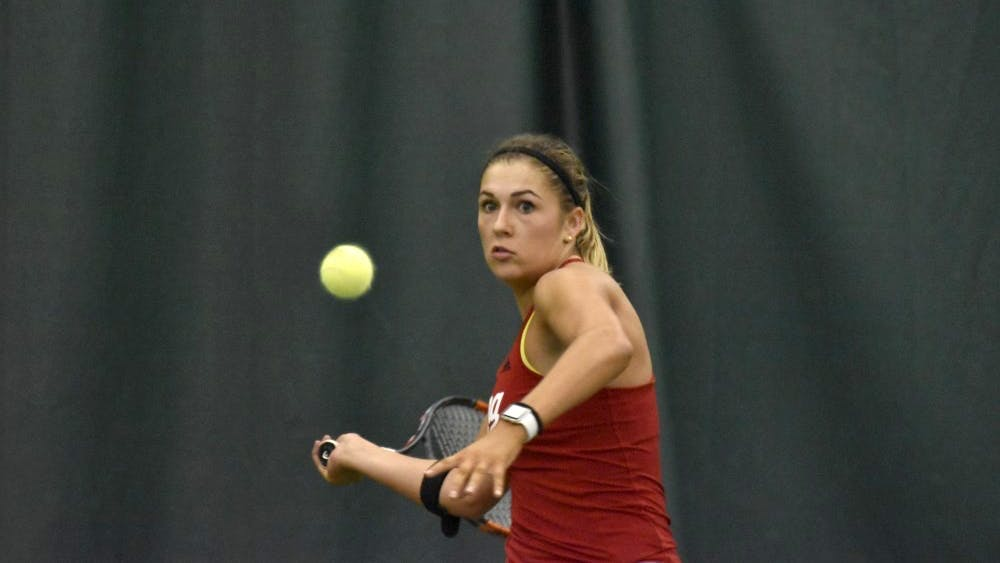 Junior Natalie Whalen eyes a forehand during her 6-1, 6-4 singles loss to the University of Tennessee on Feb. 11. IU will play Iowa on March 31.