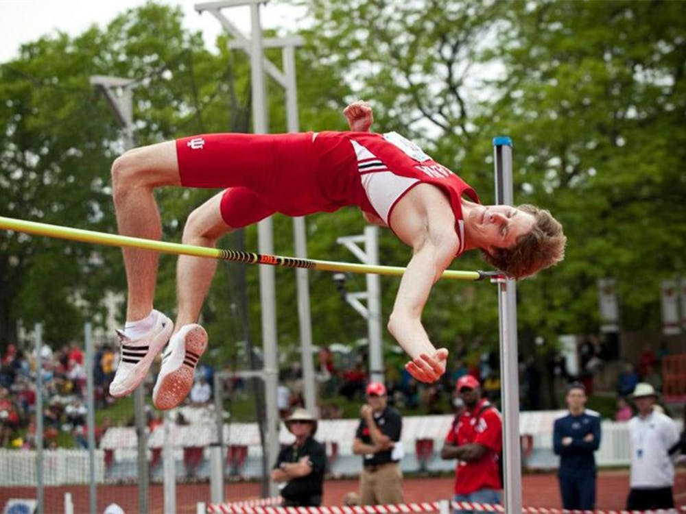 Derek Drouin clears the bar at the Big Ten Conference high jump championships May 13, 2012 in Madison, Wis. Drouin qualified Saturday for the Canadian Olympic team.