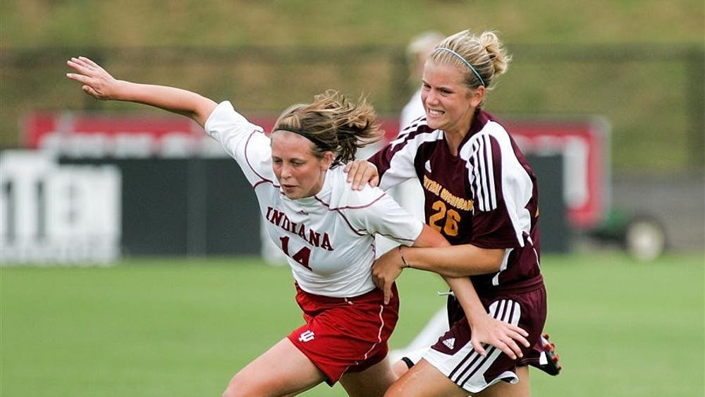 Sophomore midfielder Devon Beach battles a CMU defender for possesion during the Hoosiers 1-0 victory over the Chippewas on August 30 at Bill Armstrong Stadium.