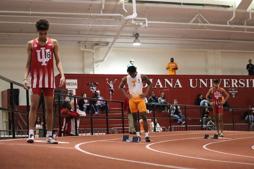 <p>Jalen Royal and his teammates prepare to run the 400-meter run on Jan. 5, 2019, in Gladstein Fieldhouse. IU competed in the Vanderbilt Invitational Jan. 17- 18 in Nashville, Tennessee.</p>