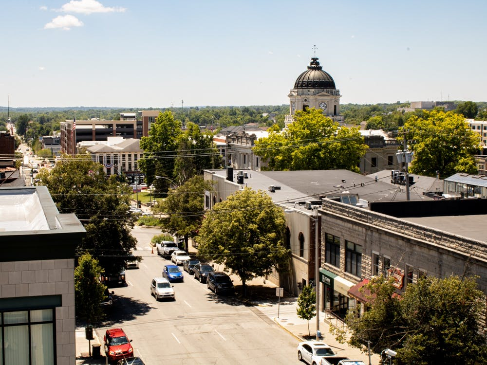 A view of downtown Bloomington from the 7th and Walnut Street Parking Garage. The Bloomington City Council reaffirmed the city's support for the LGBTQ+ community in a meeting Wednesday.