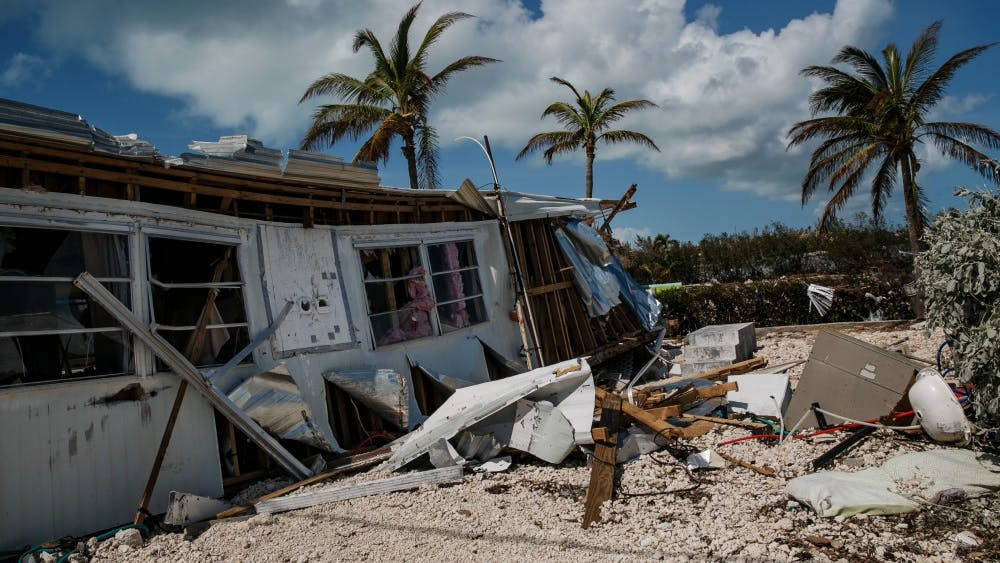 Trailer homes at the Sea Breeze trailer park are destroyed in the wake of Hurricane Irma, in Islamorada, Fla., on Tuesday, Sept. 12, 2017.