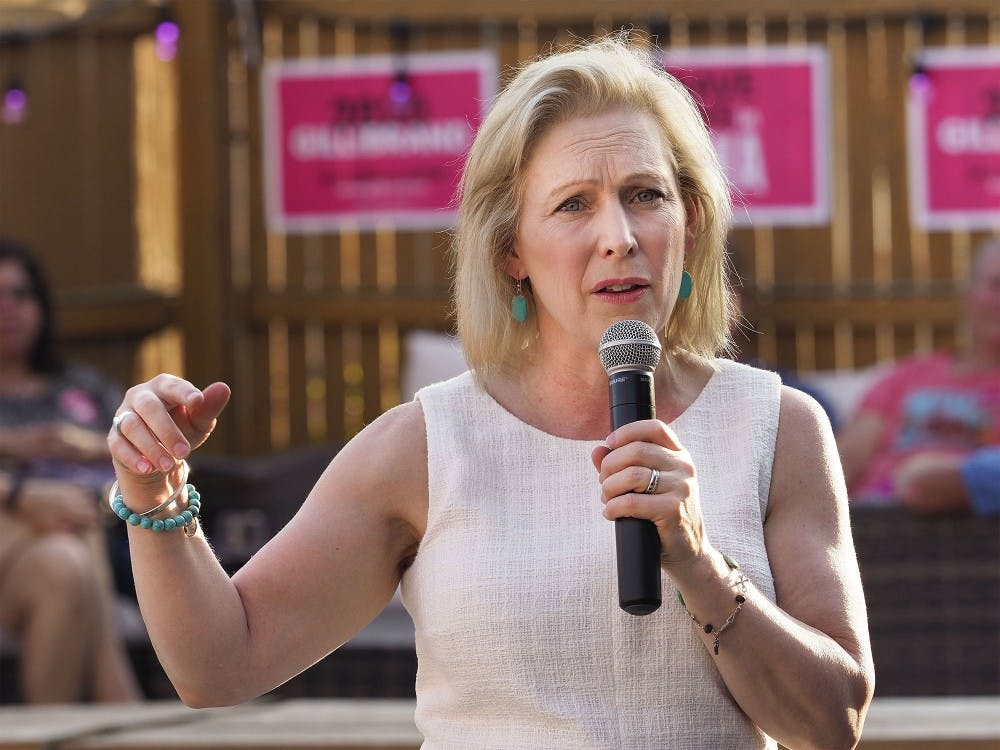 <p>Sen. Kirsten Gillibrand, D-N.Y., speaks during a campaign stop Aug. 7 in Sioux City, Iowa. Gillibrand opted to drop out of the 2020 presidential race Wednesday.</p><p></p>