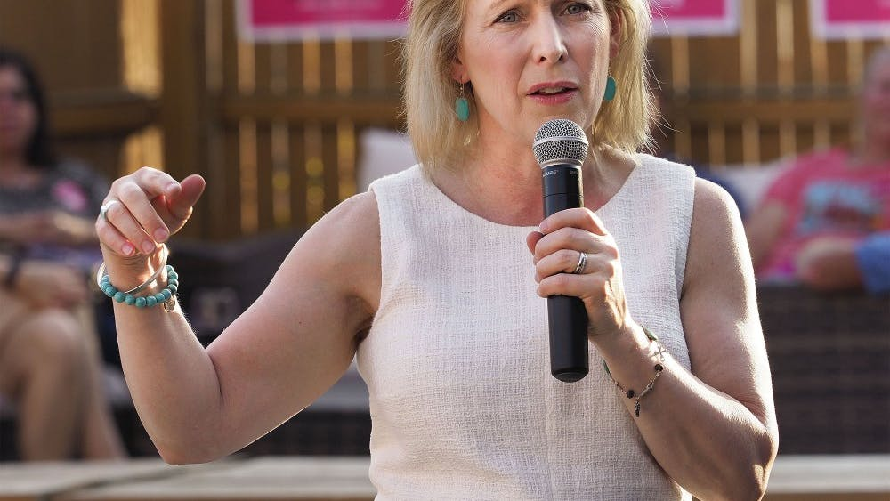 Sen. Kirsten Gillibrand, D-N.Y., speaks during a campaign stop Aug. 7 in Sioux City, Iowa. Gillibrand opted to drop out of the 2020 presidential race Wednesday.