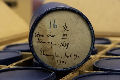 A wax cylinder used as a recording device more than a hundred years ago sits on a box Feb. 17 at the Archives of Traditional Music in Morrison Hall. The archive holds nearly 7,000 wax cylinders.