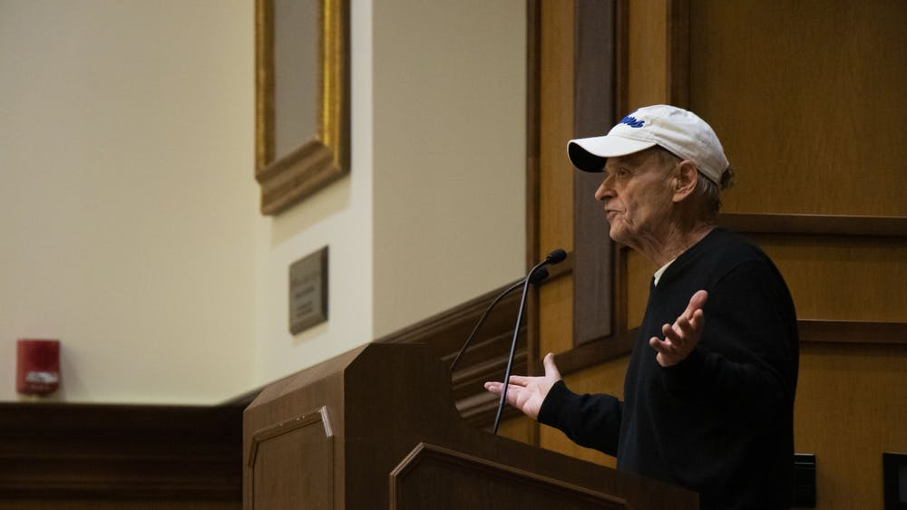 """Tim O'Brien, best known for his book """"The Things They Carried,"""" tells a story about his family Oct. 29 at Franklin Hall. O'Brien spoke as part of The College of Arts and Science's """"Remembering and Forgetting"""" Themester series."""