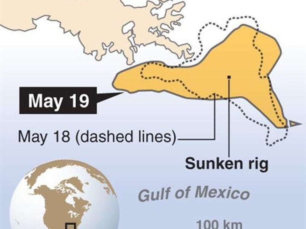 Map of the forecasted location for May 19, 2010, of the sunken rig oil spill in the Gulf of Mexico.<p> â?¨With OILSPILL-DEVELOPMENTS by The Miami Herald<p>  03000000; 06000000; DIS; ENV; krtcampus campus; krtdisaster disaster; krtenvironment environment; krtnews; krtworld world; krt; 2010; krt2010; mctgraphic; 06005000; 06005002; 06010000; environmental issue; environmental pollution; water; water pollution; 03006000; industrial accident; krtaccident accident; krtnamer north america; u.s. us united states; oilrig-explosion; oilrig update; USA; alabama ala. al; florida fla. fl; krtsouth; louisiana la.; mississippi miss. ms; boats; deepwater horizon; draft; explosion; float; floating boom; freeboard; harbor; leak; ocean; oil; oil rig; oilspill; krt mct; oilspill update; spillbox; wa