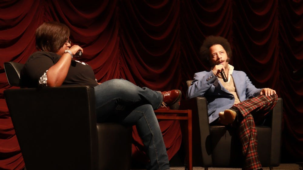 """Director Boots Riley speaks Oct. 26 in the IU Cinema. Riley is also a songwriter and screenwriter who spoke about his film """"Sorry To Bother You"""" and other topics."""