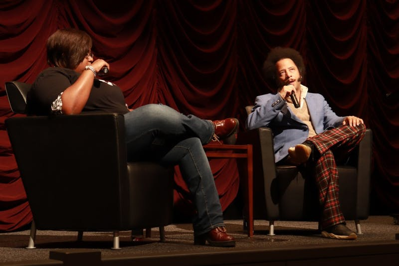 "Director Boots Riley speaks Oct. 26 in the IU Cinema. Riley is also a songwriter and screenwriter who spoke about his film ""Sorry To Bother You"" and other topics."