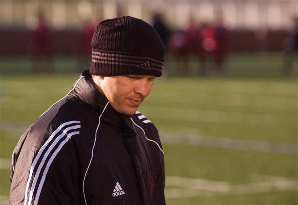 IU assistant coach Todd Yeagley scans the sidelines shortly before halftime of IU's 4-2 win against Butler on Oct. 24, 2006. Yeagley accepted the head coaching position at Wisconsin on Dec. 18.
