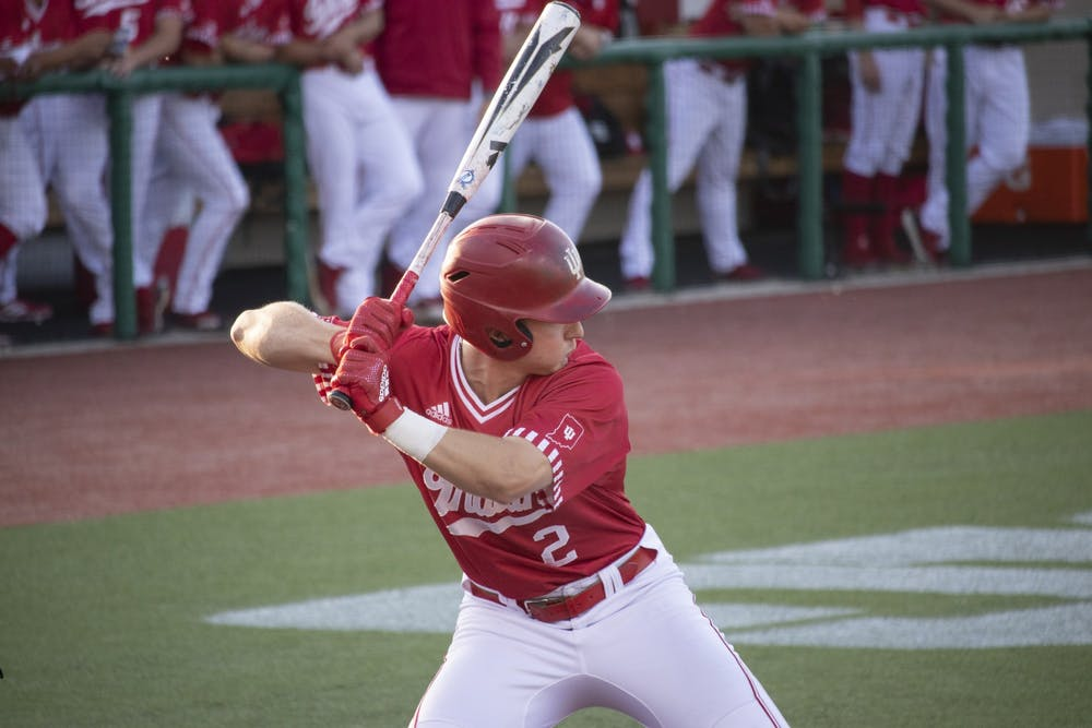 <p>Then-sophomore infielder Cole Barr prepares to bat against the University of Louisville on May 14, 2019, at Bart Kaufman Field. IU baseball begins it season against Rutgers at 4 p.m. Friday.</p>