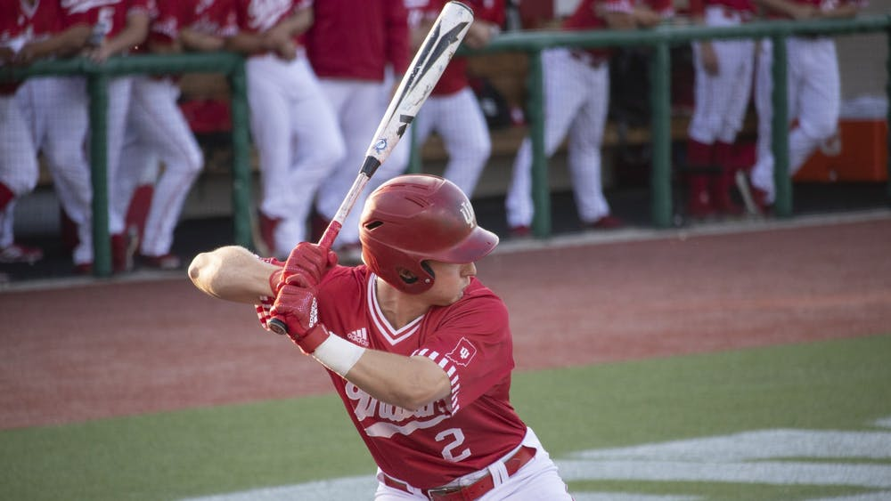 Then-sophomore infielder Cole Barr prepares to bat against the University of Louisville on May 14, 2019, at Bart Kaufman Field. IU baseball begins it season against Rutgers at 4 p.m. Friday.