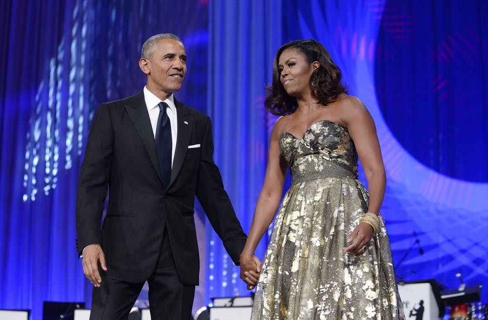 <p>Then-President Barack Obama and then-first lady Michelle Obama arrive to address the Congressional Black Caucus Foundation&#x27;s 46th Annual Legislative Conference Phoenix Awards Dinner on Sept. 17, 2016, in Washington, D.C. The Obamas broke ground for the Obama Presidential Center on Sept. 28, 2021, in Chicago&#x27;s South Side.</p>