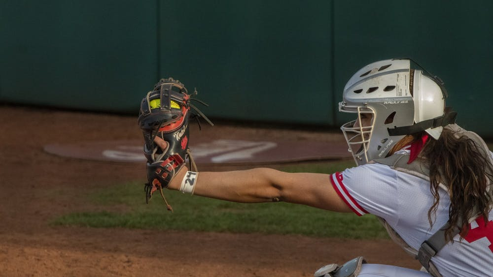 Then-junior catcher Bella Norton catches a strike April 10, 2019, at the top of the seventh at Andy Mohr Field. IU lost 3 of its 5 games Feb. 6-8 at the Black and Gold Tournament in Orlando, Florida.