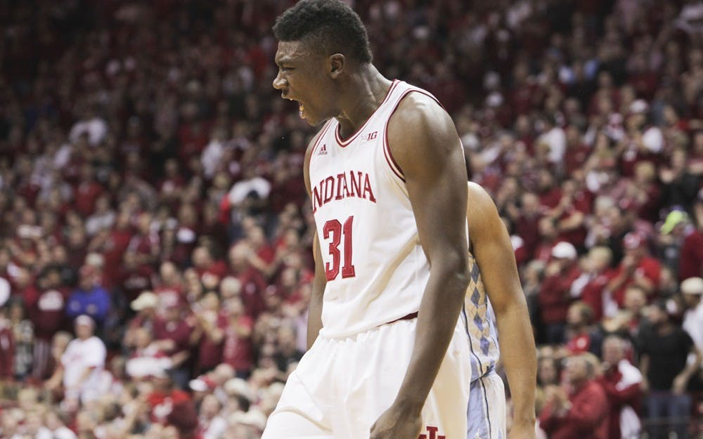 Sophomore Thomas Bryant yells in the middle of the first half of the Hoosier's game against North Carolina Wednesday evening.