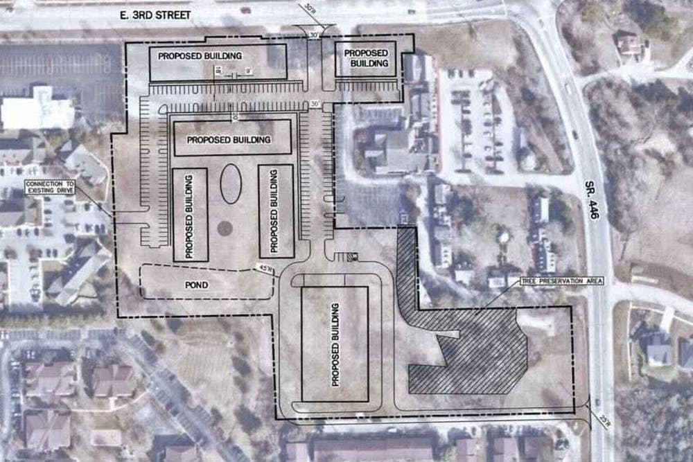<p>A preliminary outline of an apartment complex building is displayed in the Bloomington City Council packet. The council voted 7-2 Wednesday to rezone a 10-acre plot of land on which an apartment complex could be built.</p>