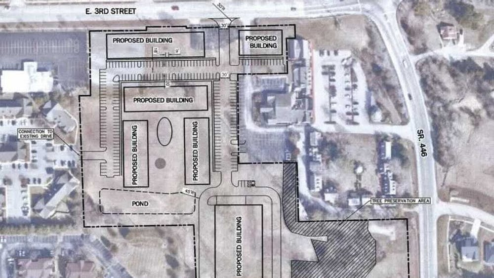 A preliminary outline of an apartment complex building is displayed in the Bloomington City Council packet. The council voted 7-2 Wednesday to rezone a 10-acre plot of land on which an apartment complex could be built.