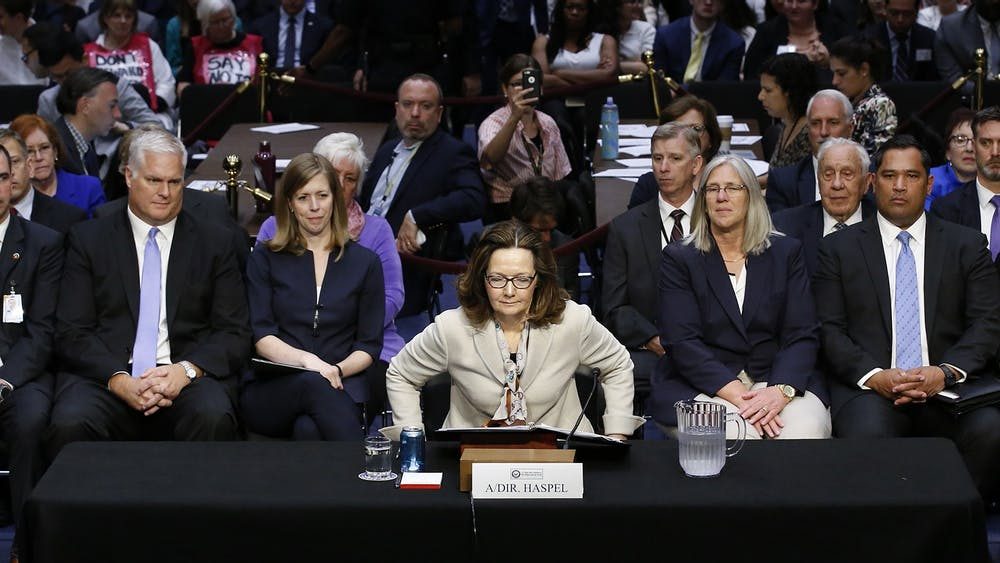 CIA Director Gina Haspel sits down May 9, 2018, on Capitol Hill in Washington, D.C. after being sworn-in to testify during her confirmation hearing before the U.S. Senate Intelligence Committee.
