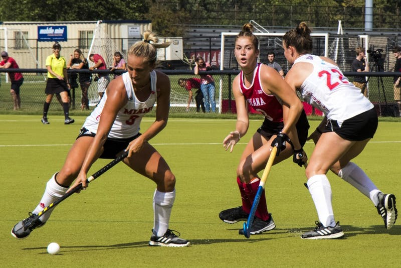 IU junior Rylee Pearson chases the ball against Miami University on Sept. 6 at the IU Field Hockey Complex. IU lost matches this weekend at Maryland and Rutgers.