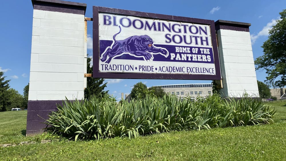 "A sign reads, ""Tradition, pride, academic excellence,"" June 3 at Bloomington High School South."