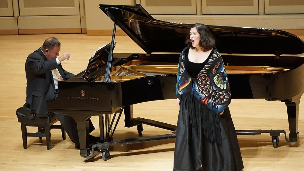 "<p>Doctoral student Alejandra Martinez sings Nov. 15, 2018, at the Art Song of Mexico concert in Auer Hall. Faculty and students will perform in the ""Black History Month: A Celebration"" recital at 6 p.m. Sunday in the Simon Music Center&#x27;s Auer Hall.</p>"