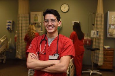 Senior Mark Casanova is the first Latino male nurse to graduate from the IU School of Nursing.