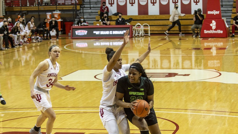 Senior guard Jaelynn Penn guards her opponent Jan. 31 in Simon Skjodt Assembly Hall. Penn announced Friday she will transfer to the University of California-Los Angeles.
