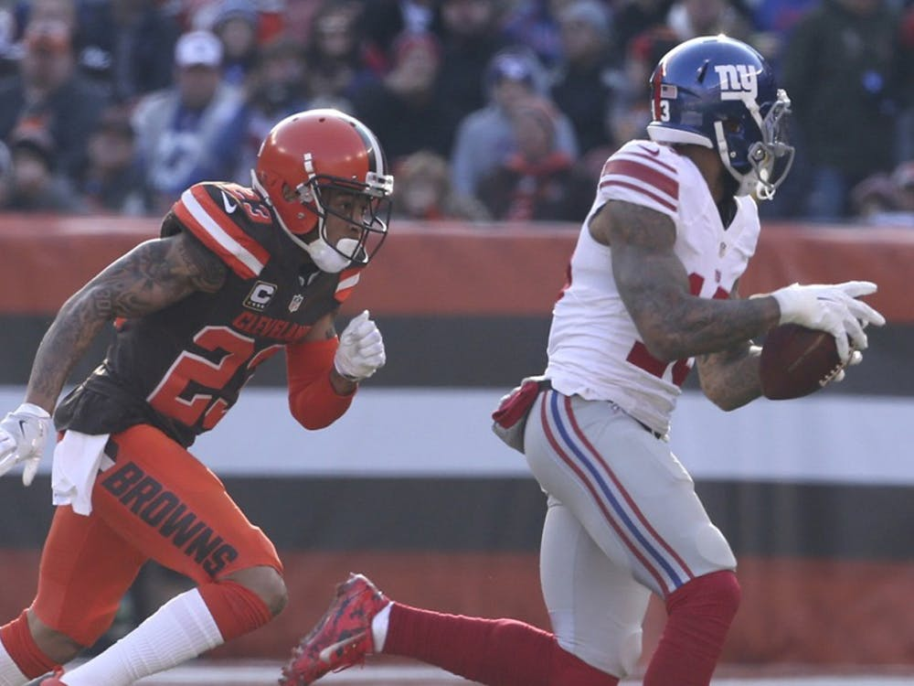 Cleveland Browns' Joe Haden chases after New York Giants' Odell Beckham Jr. after a second quarter catch on Sunday, Nov. 27, 2016 at FirstEnergy Stadium in Cleveland, Ohio. The Browns lost the game 27-13. (Phil Masturzo/Akron Beacon Journal/TNS)