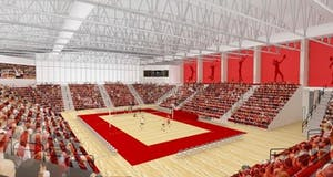 The new volleyball and wrestling arena was scheduled to be finished by September 2018, but construction has been pushed back to November. The 2018 IU volleyball season begins on Aug. 24.