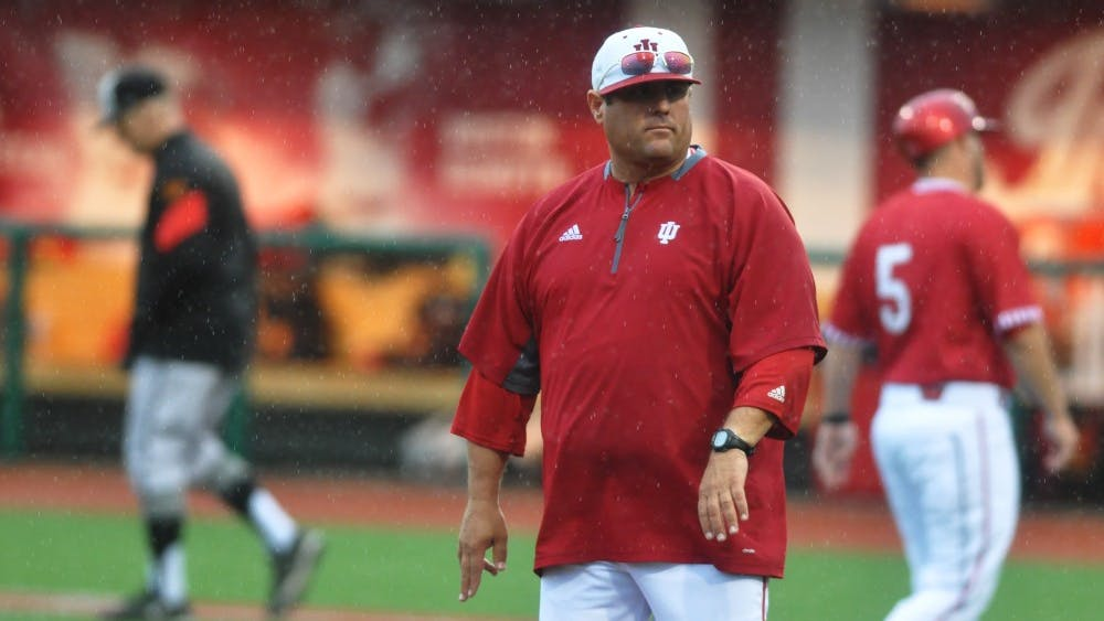Former IU Coach Chris Lemonis walks off the field after shaking hands with the Maryland coaching staff at Bart Kaufman Field on April 30, 2017. Lemonis is now the head coach at Mississippi State.