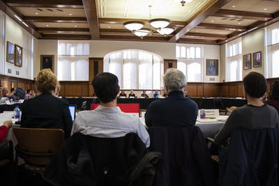 IU faculty members listen to discussion during Bloomington Faculty Council on Nov. 5 at Franklin Hall. The faculty passed a policy outlining criteria for students to earn academic credit for prior learning.