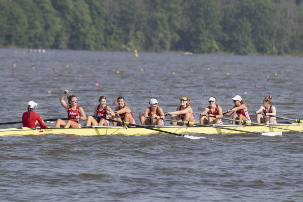 <p>IU's women&#x27;s rowing team smiles June 2, 2019, at Eagle Creek Park. The women&#x27;s rowing team had 26 members named to the Academic All-Big Ten team.</p>