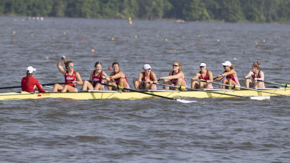 IU's women's rowing team smiles June 2, 2019, at Eagle Creek Park. The women's rowing team had 26 members named to the Academic All-Big Ten team.