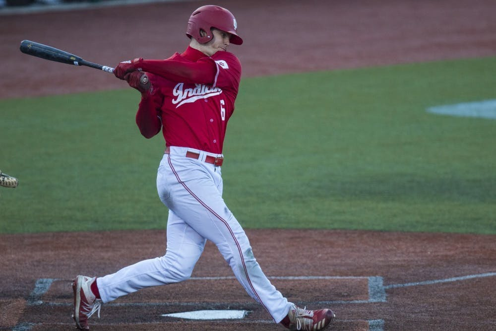 Then-sophomore Grant Richardson swings his bat March 7, 2020, at Bart Kaufman Field.