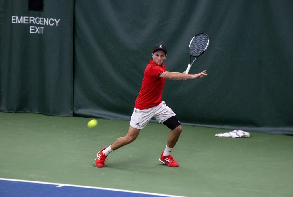 <p>Senior Zac Brodney prepares to swing against the University of Notre Dame on Feb. 1 at the IU Tennis Center. Payam Ahmadi, Zac Brodney, Bennett Crane and William Piekarsky all joined as freshman and have stayed on the team all four seasons. </p>