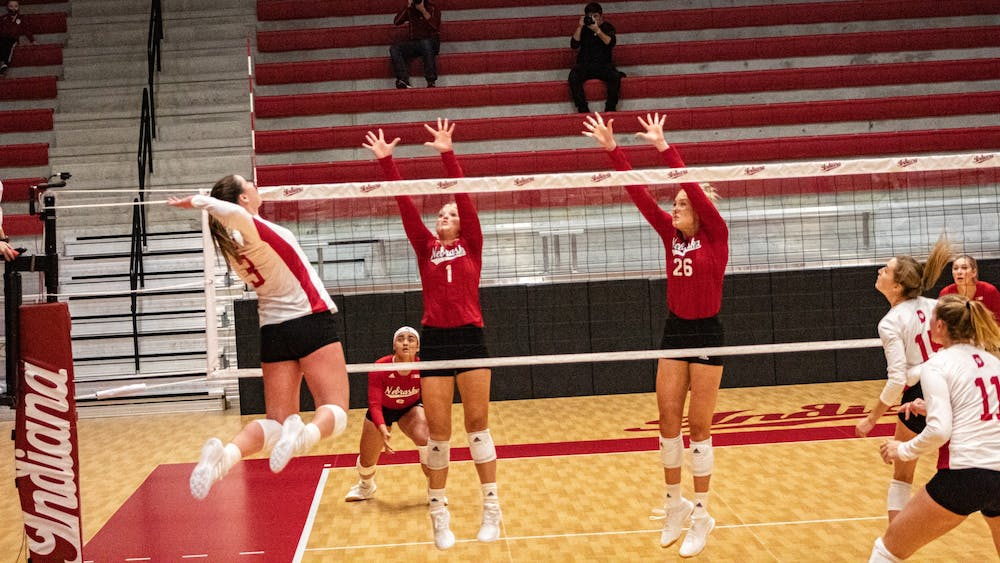Freshman outside hitter Tommi Stockham spikes the ball Jan. 22 in Wilkinson Hall. The Hoosiers beat Iowa 3-2 on Saturday at Xtream Arena in Iowa City, Iowa.