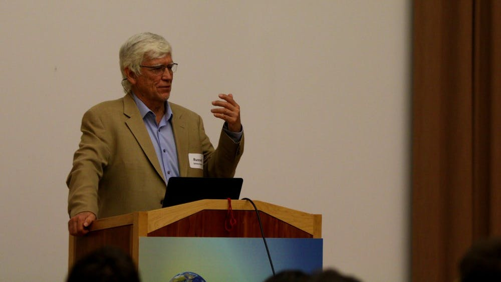 Dr. Russell Mittermeier speaks to students about his experiences and work in primatology and conservation in the Grand Hall in the Neal-Marshall Black Culture Center. Mittermeier was recently named the winner of the World's Leading Animal Conservation award.